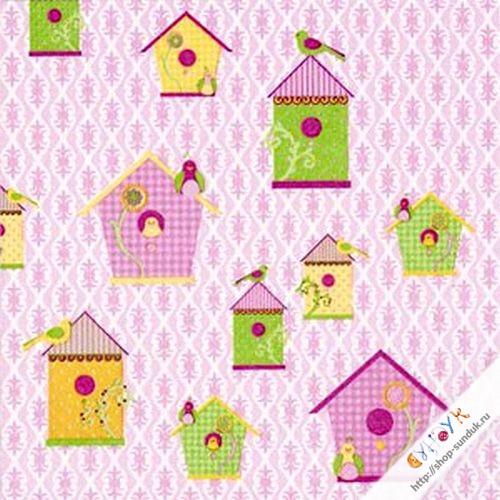 """Салфетка для декупажа """"Домики для птиц, розовый"""" [AH8240552]"""