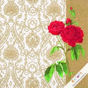 """Салфетка для декупажа """"Викторианский узор и роза (золотистый)"""" [AH8278746]"""