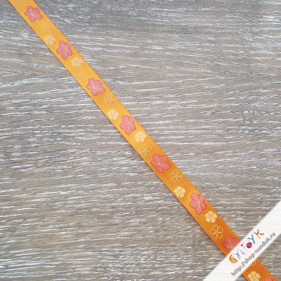 """Лента атласная с рисунком """"Цветы на оранжевом"""" [ALP-123-06]"""