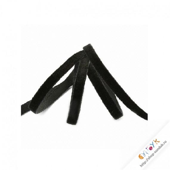 Лента бархатная 3мм черная [0303]